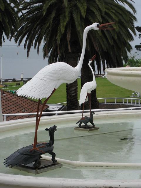 Detail of the Stork and Tortoise Dragon Art Deco Fountain - Eastern Beach, Geelong