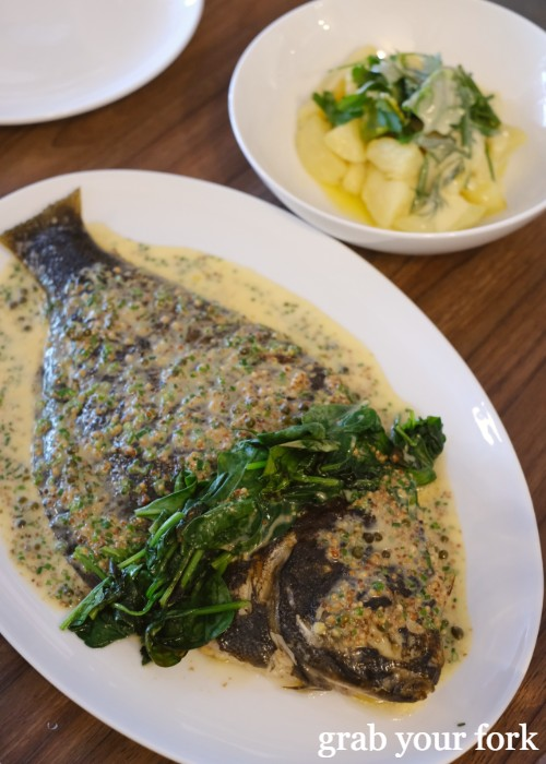 Flounder with sauce Florentine at Cafe Paci in Newtown