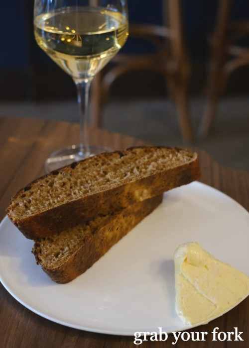 Potato and molasses bread with butter at Cafe Paci in Newtown