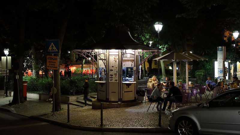 Jardim Fialho de Almeida at night