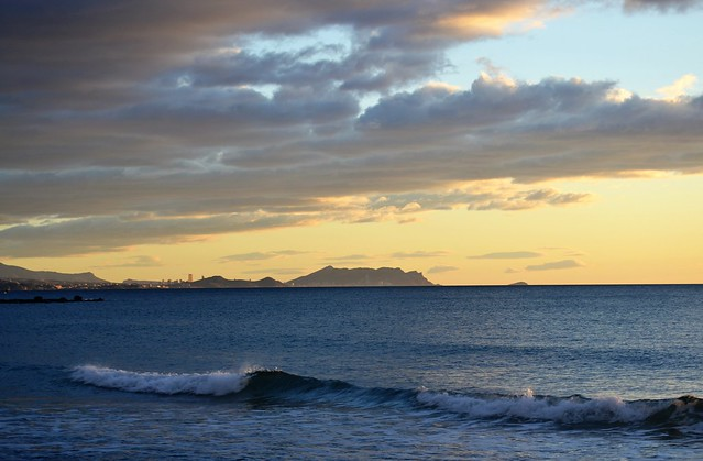 Benidorm from the beach of El Campello, Alicante