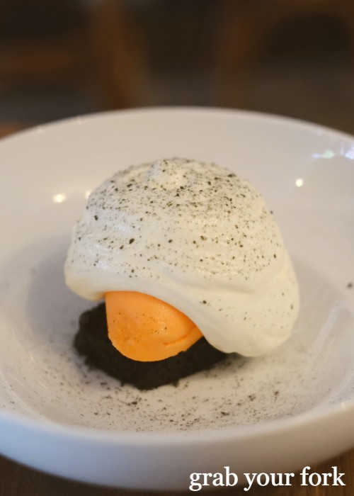 Carrot sorbet with yoghurt and licorice at Cafe Paci in Newtown