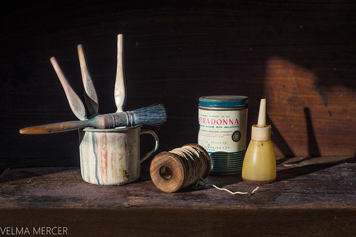 Still life paint brushes.