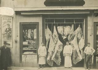 Butcher's shop, Bologna, via D'Azeglio (1900s)