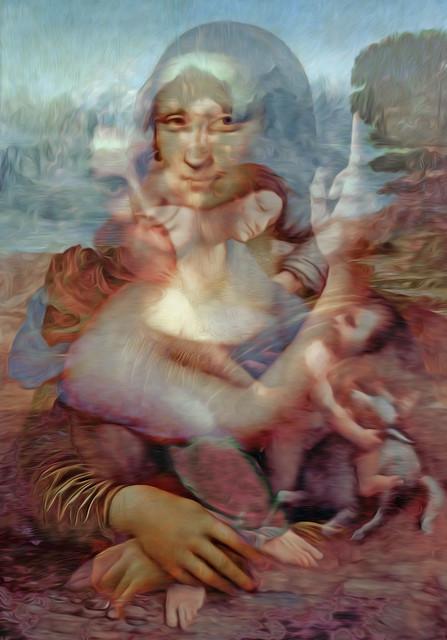 Bildschichten Leonardo da Vinci Werke 02 in gegenseitiger Durchdringung