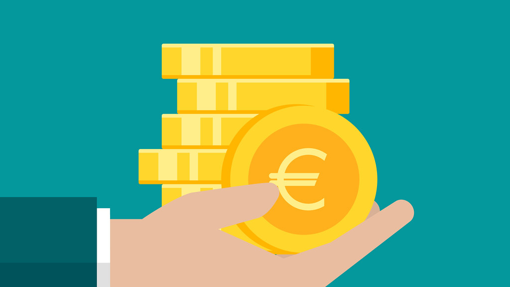 A graphic of a hand holding a pile of Euros