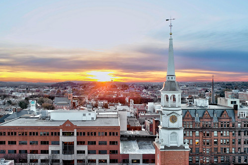 york city county pa pennsylvania sunset aerial view