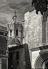 Rear of Valencia Cathedral (Monochrome) (Fujifilm X100F & 50mm Tele Converter Lens)