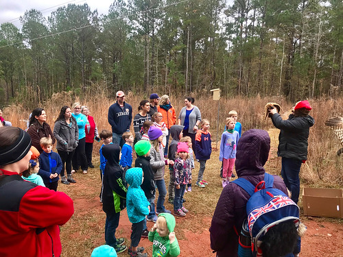 Visitors on hike, learning about birds of prey.
