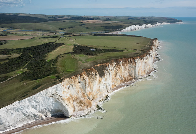 Seaford Head Nature Reserve & the Seven Sisters in East Sussex - aerial image