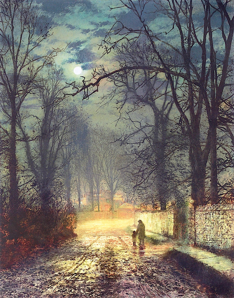A Moonlit Lane by John Atkinson Grimshaw, 1874