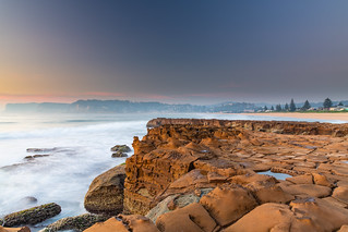 Rocky Smoke Haze Sunrise Seascape
