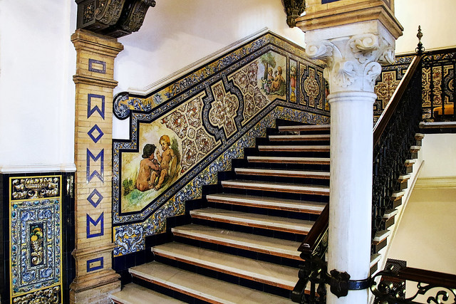 Stairway in our Seville hotel (on the Lisbon - Madrid leg)