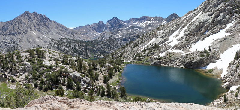 The 60 Lakes Trail is directly below us along the edge of the lake, and the Rae Lakes Basin is off in the distance