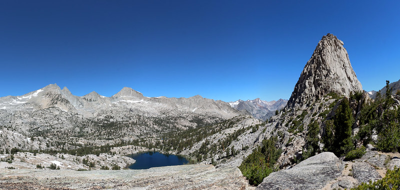 Panorama shot of the 60 Lakes Basin and Fin Dome