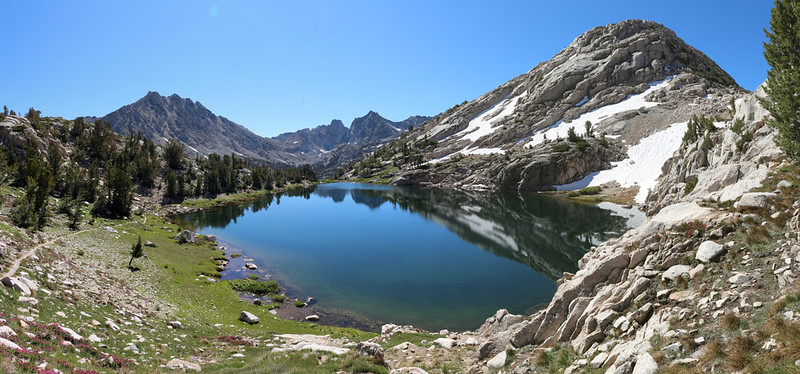 Panorama shot of the high lake on the 60 Lakes Trail from the pass at 11200 feet elevation