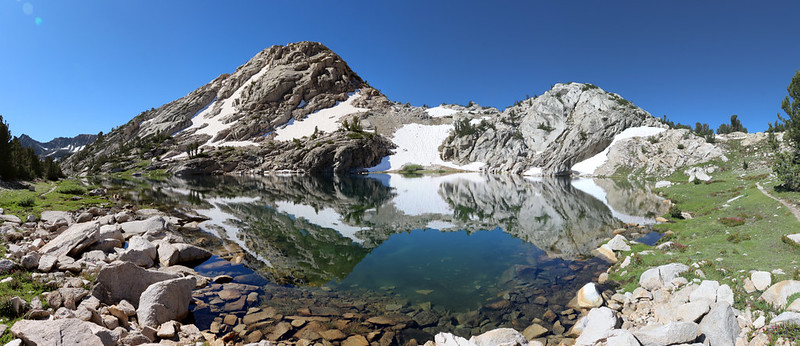 Panorama view of the high lake near the pass on the 60 Lakes Trail