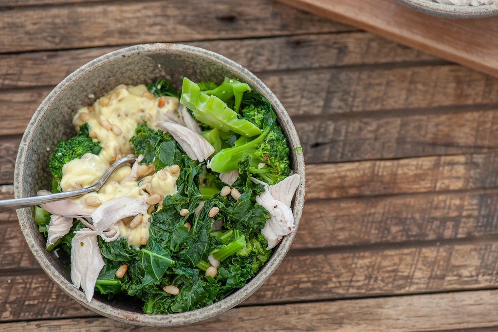 Green Chicken Bowls with Pine Nut Mayo-2