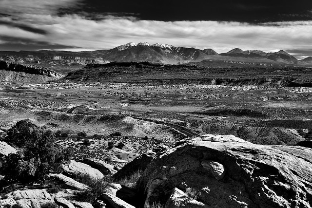 The Road Traveled (Black & White, Arches National Park)