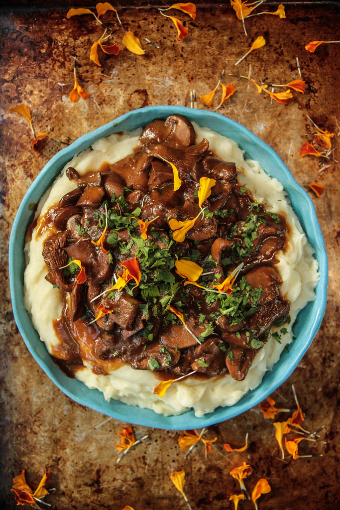 Mashed Potatoes with Mushroom Gravy (Vegan) from HeatherChristo.com