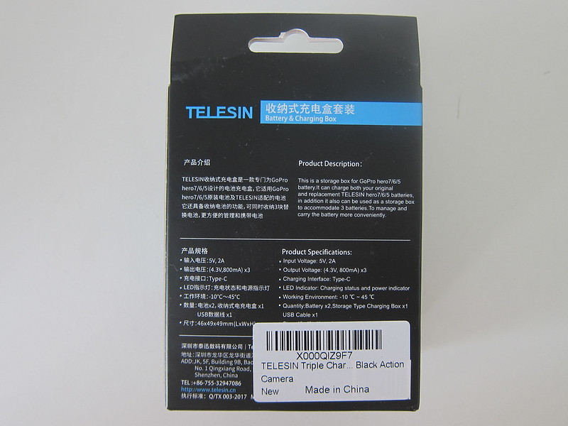 Telesin 3-Channel Charging Box - Box Back
