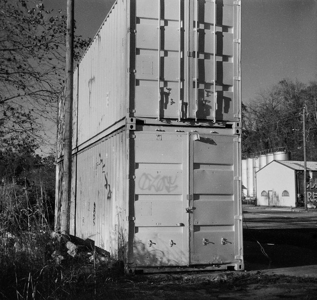 two shipping containers, stacked, late light, River Arts District, Asheville, NC, Bencini Koroll, Arista.Edu 200, HC-110 developer, 11.12.19
