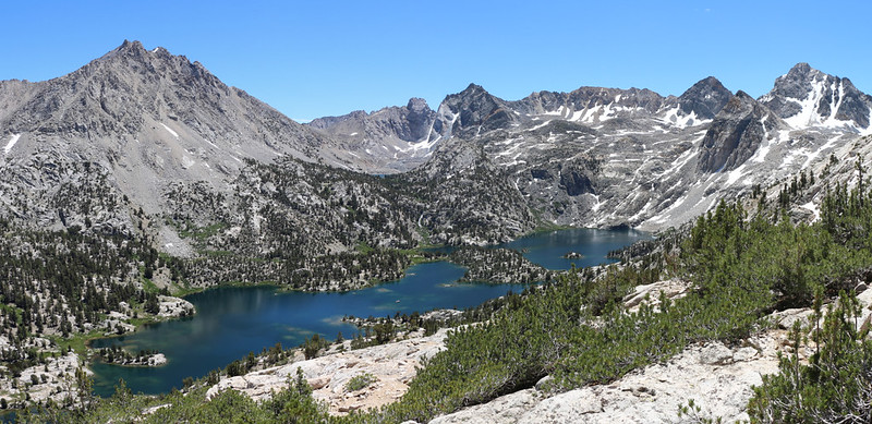 Panorama shot of the Rae Lakes Basin from the high ridge near Fin Dome