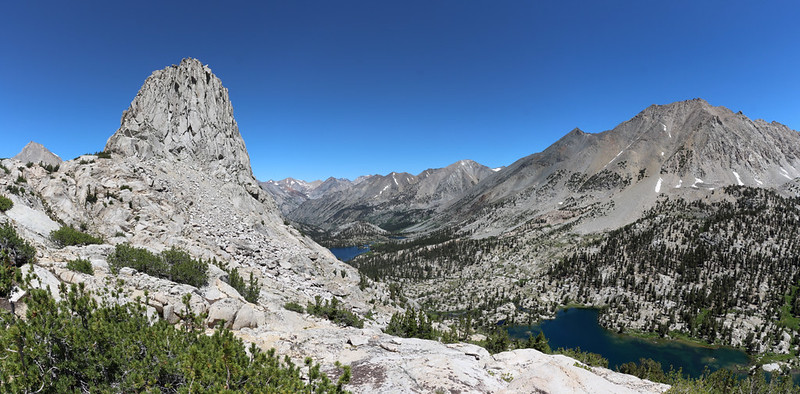 Panorama shot of Fin Dome, Arrowhead Lake, Dollar Lake, the lowest Rae Lake, and Diamond Peak