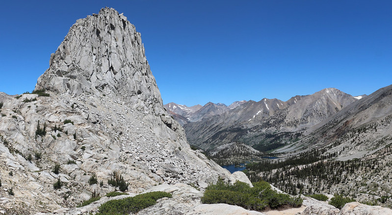 Fin Dome towering above Arrowhead Lake and Dollar Lake and the South Fork Woods Creek Valley