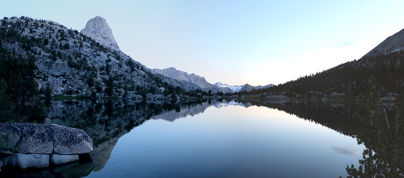 Dawn alpenglow reflection over the Rae Lakes looking north, with Fin Dome on the left