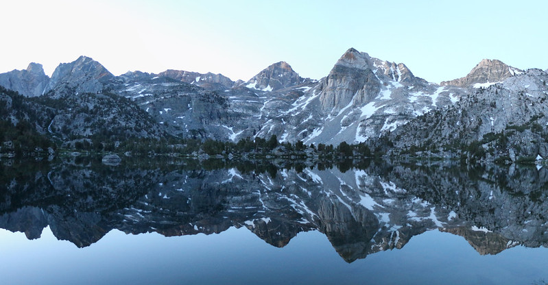 Dawn alpenglow reflection over the Rae Lakes, with Painted Lady right of center