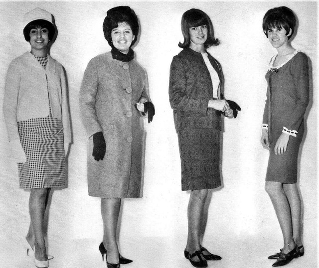 Students modeling their own fashion designs from time in Home Ec class 1966 at Salpointe High School in Tucson, Arizona