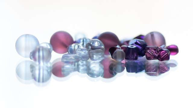 glass beads on mirror
