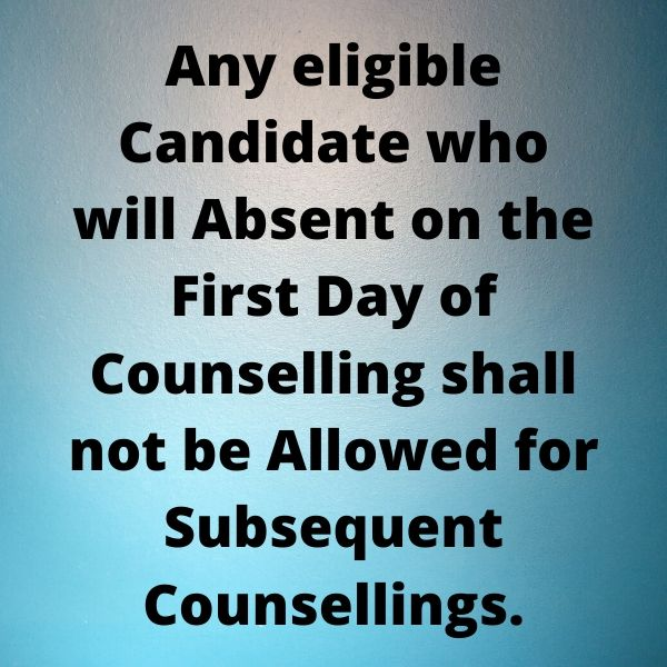 if you miss the first day of counselling then you can not be able to take part in further days of counselling