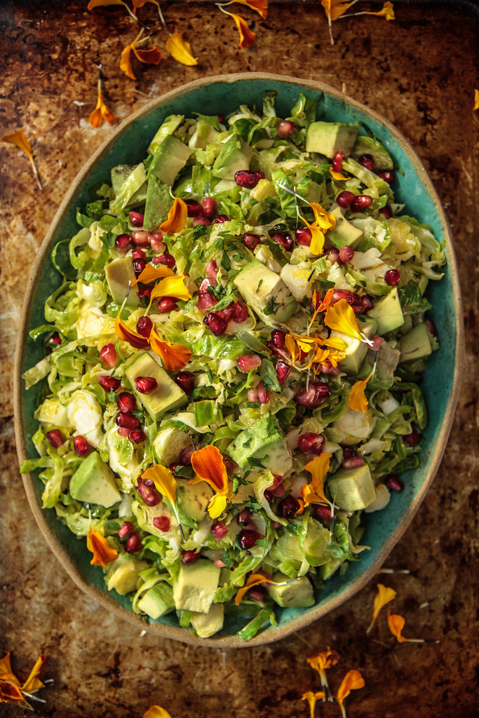 Brussels Sprouts Apple Salad with Avocado and Sour Apple Jalapeno Vinaigrette ( Vegan ) from HeatherChristo.com