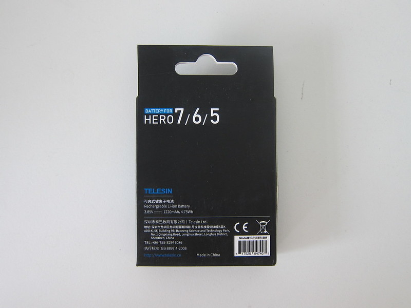 Telesin GoPro Battery - Box Back
