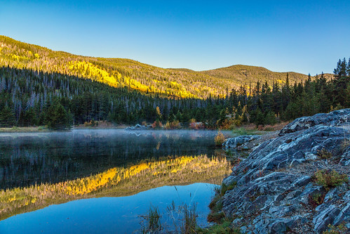 landscape lake water reflections trees autumn fall color officersgulchpond colorado mist landscapes