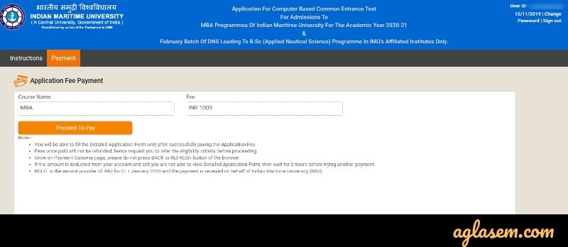 IMU CET 2020 application fee