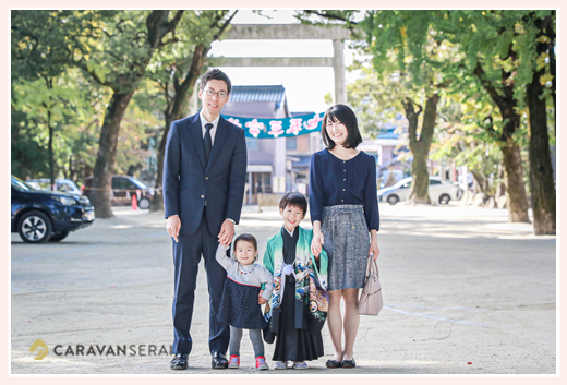 七五三 挙母神社 家族の写真 愛知県豊田市