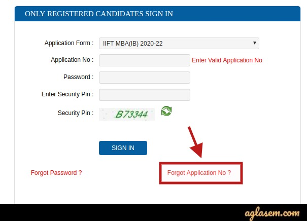IIFT 2020 Forget Application Number