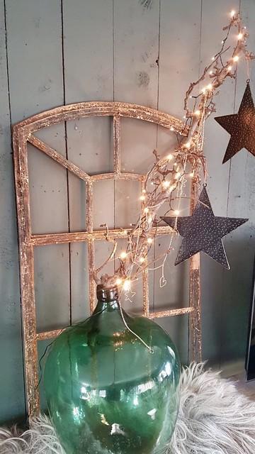 Oud raam lampjes sterren fles