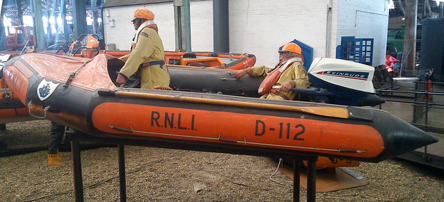 BLUE PETER 111 D-112 LIFEBOAT D CLASS INSHORE LIFEBOAT 1967 STATIONED AT NORTH BERWICK NOW  AT CHATHAM DOCKYARD IN AN EAST LONDON BOROUGH SUBURB HISTORICAL VENUE KENT ENGLAND DSC_0471