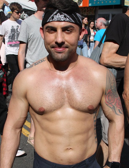 HELLA HOT MUSCLE STUD ! ~ CASTRO STREET FAIR 2019 ! ( safe photo )