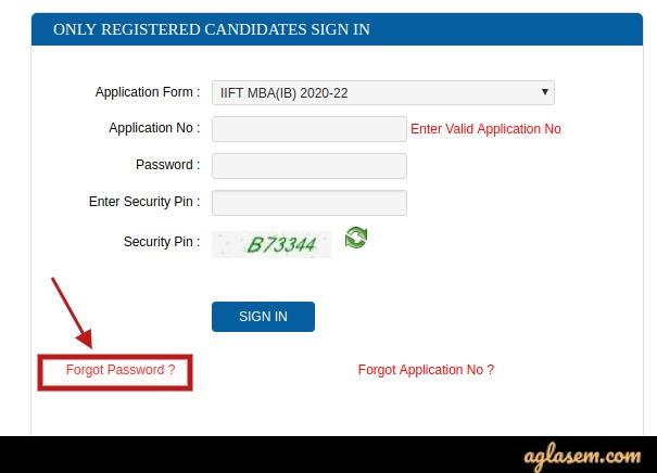 IIFT 2020 forgot password