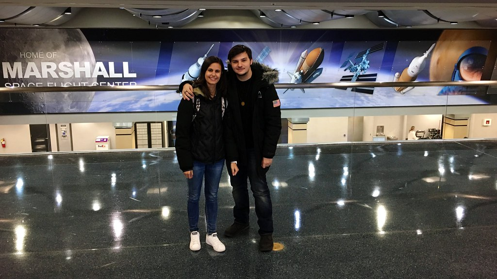 Linda Raimondo and Mattia Barbarossa arrive at HSV Int'l Airport