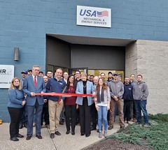 Ribbon cutting for grand re-opening of USA Mechanical & Energy Services, LLC in East Granby. They celebrated doubling and upgrading their space with many of their 36 employees and regular vendors. The expansion also included 15 new jobs.