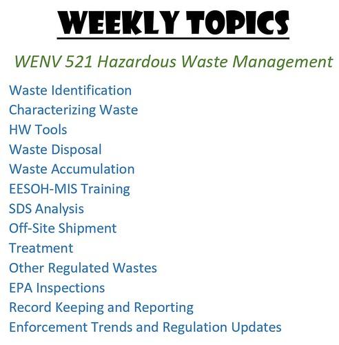 521 Weekly Topics