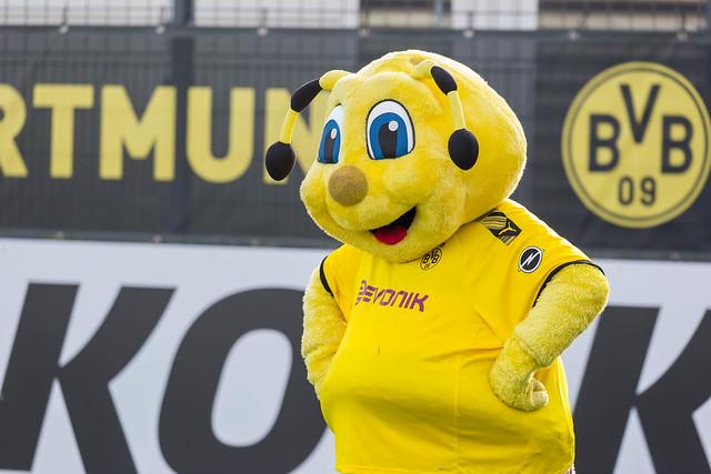 Biene Emma Maskottchen des BVB fröhlich am Spielfeldrand