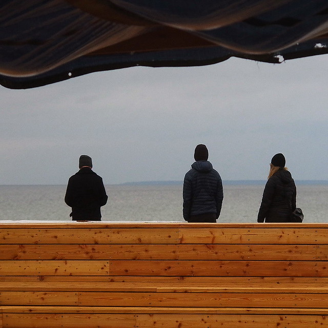 trio, looking out to sea