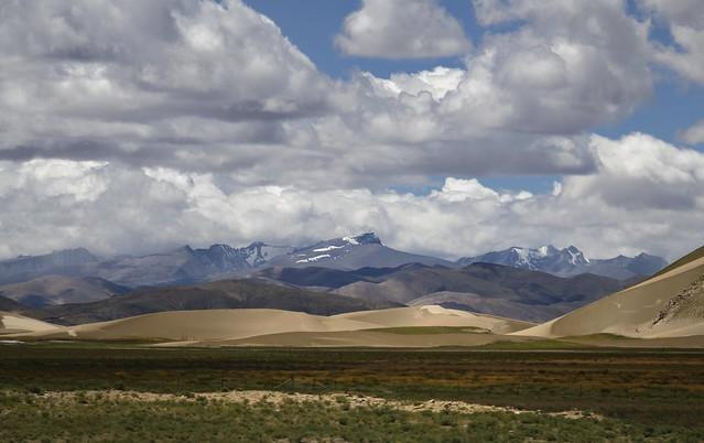 Desert sand dunes allong the Himalaya mountains, Tibet 2019